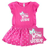 New Ewe, The Bigger the Bow the Closer to Jesus, Baby Short Sleeve Dress, Raspberry, 6 Months-24 Months