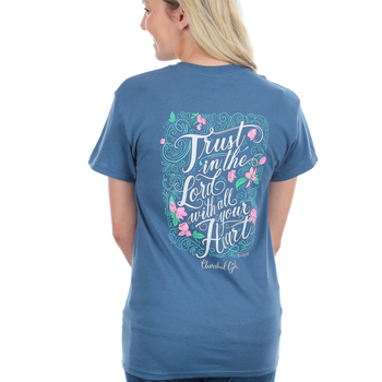 Cherished Girl, Proverbs 3:5 Trust in the Lord, Short Sleeve T-Shirt, Indigo Blue, S-3XL