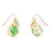 Faith in Bloom, Teardrop with Gold Cross Charm Dangle Earrings, Zinc Alloy and Glass, Gold, Green