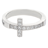 Spirit & Truth, Ephesians 2:8, Saved By Grace Sideway Cross, Women's Ring, Stainless Steel, Sizes 5-9