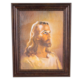 Renewing Faith, Warner Sallman Head of Christ Framed Canvas, MDF and Canvas, Bronze Frame, 14 x 11 x 3/4 inches