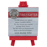 Abbey and CA Gift, Firefighter Plaque on Mini Easel, Wood, Red, 5 x 3 1/4 x 3 inches