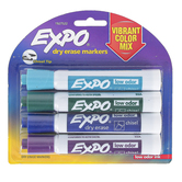 Expo, Low-Odor Fashion Colors Dry Erase Markers, Chisel Tip, Assorted Colors, 4-Pack