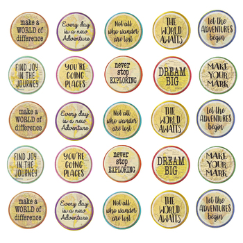 Teacher Created Resources, Travel the Map Positive Sayings Large Accents Cutouts, 6 Inches, 30 Pieces