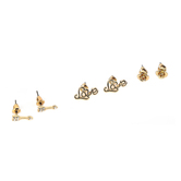Faithful and Fabulous, Flower, Love, Arrow Earring Set, Zinc Alloy and Cubic Zirconia, Gold, 3 Pairs