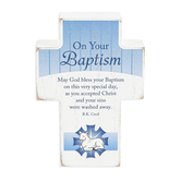 Dicksons, On Your Baptism Tabletop Cross, Wood, White, 4 x 2 3/4 x 1 inches