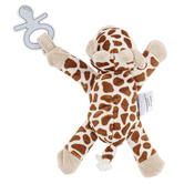 Stephen Joseph, Giraffe Pacifier Plush, Polyester, White & Pink, 6 x 6 1/4 x 2 inches