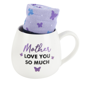 Pavilion Gift, Mother Love You So Much Mug & Sock Set, White & Purple, 2 Pieces