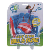 Toysmith, Get Outside Go Play, Easy Catch Ball & Glove, Red & Blue, 2 Pieces, Ages 3 & Older
