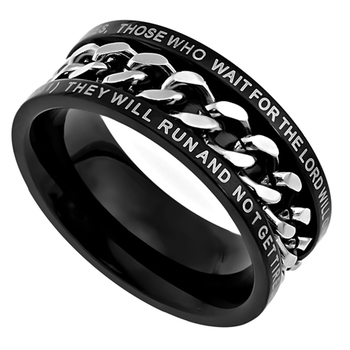 Spirit & Truth, Isaiah 40:31, Strength, Inset Chain, Men's Ring, Stainless Steel, Black, Sizes 8-12