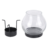 Clear Tea Light Candle Holder, Glass & Metal, Clear & Black, 3 1/4 x 3 inches