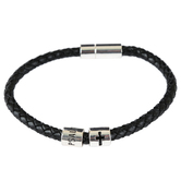 Soul Anchor, Psalm 46:1 Braided Cord Bracelet, Zinc Alloy and Faux Leather, Silver and Black
