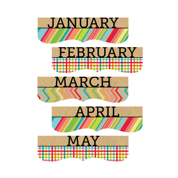 TooCute Collection, Monthly Calendar Headers, 5 x 16 Inches, Multi-colored, 12 Pieces