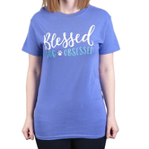 Paws & Praise, Blessed and Dog Obsessed, Women's Short Sleeve T-Shirt, Violet, 2X-Large