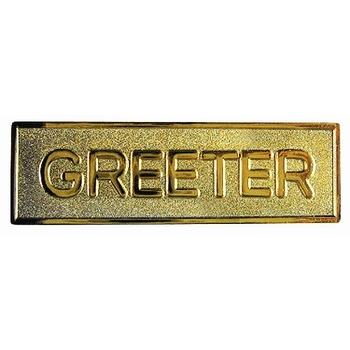 Gold Badge - Greeter (Pin Back)