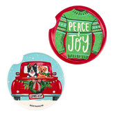 Renewing Faith, Peace & Joy Christmas Car Coasters, Absorbent Sandstone, 2 1/2 inches, Set of 2