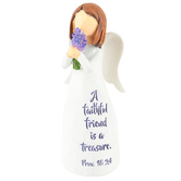 Dicksons, Proverbs 18:24 Faithful Friend Angel, Resin, White & Purple, 4 inches