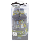 Baby Essentials, Camouflage Cap and Sock set for Baby Boy, Gray, 0-6 months