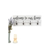 Welcome To Our Home Wood Wall Decor with Hooks, White and Black, 10 1/2 x 27 13/16 x 3 inches