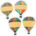Renewing Minds, Hot Air Balloons Large Cutouts, Multi-Colored, 6 Inch, 4 Designs, 36 Pieces