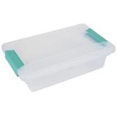 Sterilite, Small Clip Box, Clear & Aqua, 11 x 6 1/2 x 2 3/4 inches