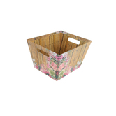 Brother Sister Design Studio, Floral Wood Plank Handle Box, Cardboard, 12 3/4 x 10 x 7 3/4 inches