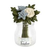 Blossom Bucket, Teacher Flower & Vase Decoration, Resin & Glass, 3 1/2 x 1 1/2 inches