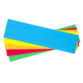 Lined Word Strips, 1.50-Inch Ruled, Five Primary Colors, 3 x 11.50 Inches, Pack of 75