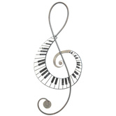 Treble Clef with Piano Keys Wall Decor, Metal and MDF, Black and White, 23 7/8 x 9 1/2 x 1 inches
