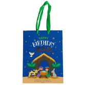 Renewing Faith, Luke 2:11 Happy Birthday Jesus Christmas Gift Bag, Blue and Gold, Multiple Sizes