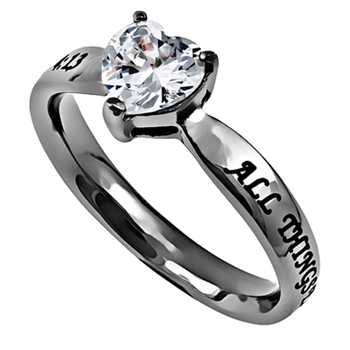 Spirit & Truth, All Things Through Christ My Strength, Heart Solitaire Purity Ring, Stainless Steel
