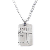 Spirit & Truth, Psalm 23:4, Guardian Shield Cross, Men's Necklace, Stainless Steel, Silver, 24 Inches