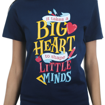 Rooted Soul, It Takes A Big Heart To Shape Little Minds, Women's Short Sleeve T-Shirt, Navy, S-2XL