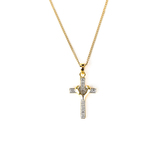 H.J. Sherman, 18K Gold Over Sterling Silver Cross With Diamond Accent, Pendant Necklace, 18 inches