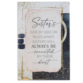 Dexsa, Sisters Side By Side Wall Plaque, MDF Wood, Pink, Navy, White, and Gold, 6 x 9 Inches