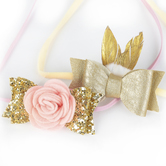 Creations of Grace, Rose and Feather Bow Elastic Headband Set, Pink/Ivory/Gold, 7 1/4 x 1 1/2 inches, 2 Headbands