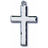 H.J. Sherman, Medium Cross With Beveled Edges Pendant Necklace, Silver, 18 Inch Chain