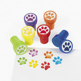 Fun Express, Paw Print Stampers, 1.5 x 1 Inches, Assorted Colors, Pack of 6