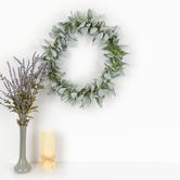 Lamb's Ear Wreath Wall Decor, Plastic & Fabric, Green, 22 inches