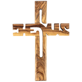 Logos Trading Post, Name of Jesus Wall Cross, Olive Wood, 5 1/2 x 8 inches