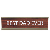 Best Dad Ever Name Plate, Metal, Gold and Brown, 8 x 2 1/4 x 1 inches