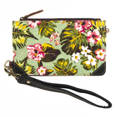 Vaan and Co, Floral Credit Card Wallet, Upcycled Leather, Green Floral, 7 x 4 1/4 inches