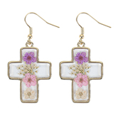 Faith in Bloom, Framed Cross Dangle Earrings, Zinc Alloy and Resin, Gold
