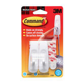 Command, Medium Hooks, White, 2 Pack