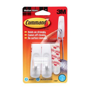 Command, Medium Hooks, White, 2 Pack