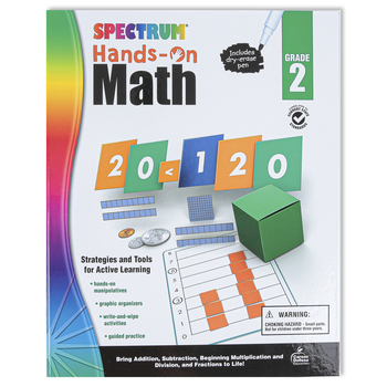 Carson Dellosa, Spectrum Hands-On Math Activity Workbook, Grade 2, 96 Pages, Ages 7-8