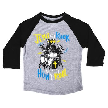 NOTW, Jesus Is My Rock And That's How I Roll, Kid's Raglan Sleeve T-shirt, Black/Heather Gray, Youth XS-Youth Large
