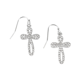 Bella Grace, Bling Cross Dangle Earrings, Zinc Alloy, Silver