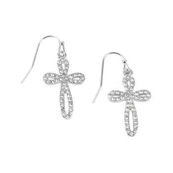 Bella Grace, Bling Cross Dangle Earrings, Zinc Alloy, Silver