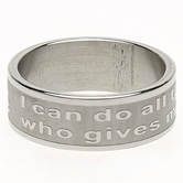 Dicksons, Philippians 4:13, Men's Ring, Stainless Steel, Sizes 6-11